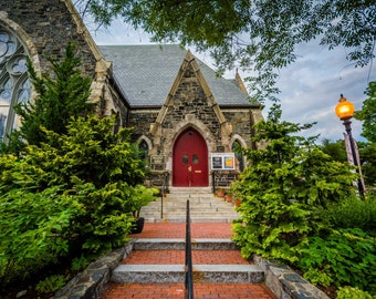 Old Cambridge Baptist Church, in Cambridge, Massachusetts. | Photo Print, Stretched Canvas, or Metal Print.