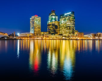 The skyline of Harbor East at night, in Baltimore, Maryland. | Photo Print, Stretched Canvas, or Metal Print.