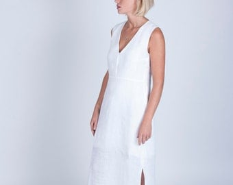 White linen midi dress with bamboo silk lining