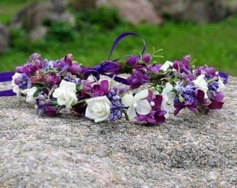 Flower crown Circlet Wedding wreath Lilac and rose flowers teen or adult size Purple&White