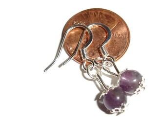 Dainty Amethyst earrings drop earrings amethyst capped dangle earrings hypoallergenic bridal earrings petite  simple fashion purple earrings