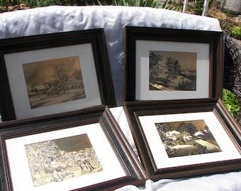 Gold foil prints, Currier & Ives prints, Set of four prints, Four seasons prints