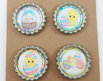 Easter Pastel Bunny Magnets or Magnetic Wine Glass Charms BottleCap Magnets, Set of 4