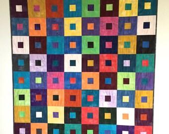 Modern Art Quilt, Lap Quilt, Grunge Quilt