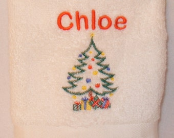 Personalised Christmas Tree Hand Towel Any Name 100% Cotton