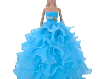 Handmade Dolls Clothes Blue Lace Wedding Dress Party Gown For Barbie Dolls