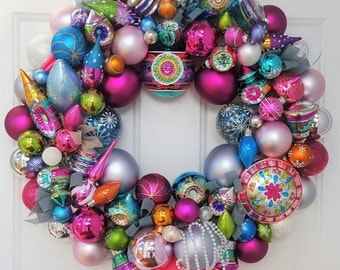 "Glass Ornament 24"" Christmas Easter Holiday Wreath Christopher Radko Shiny Brite Retro Explosion Pink Blue Green Indents Finial Tree Topper"