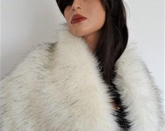 white fur stole, bridal white shawl, black faux fur, fake fur shrug, faux fur collar, bridesmaid wrap, bridal