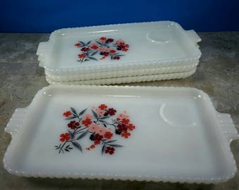 Vintage Fire King Milk Glass Primrose Serving Trays with Hobnail Edge Pink and Red Flowers