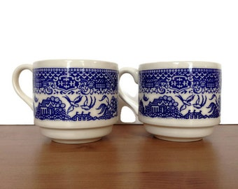 Blue willow mugs ceramic coffee cups made in the USA gifts under 10