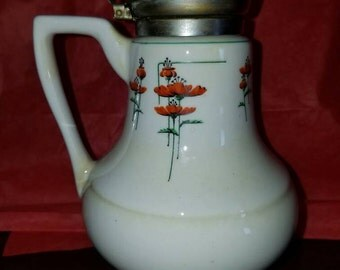 Vintage 1930s Royalties Royal Rochester Fraunfelter Poppy Syrup Pitcher