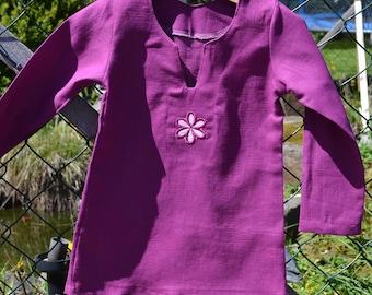 Shirt daisy flower linen berry