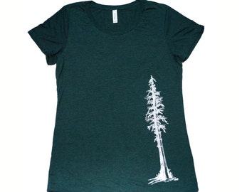 Redwood Tree T Shirt, Women's Bella Canvas Swoop Neck Tee, tree, sequoia, giant redwood, fir, nature, illustration, artwork, hand printed