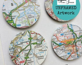 Paper circle art - personalised map picture - custom wedding gift - wedding gift for couple - anniversary gift - map circle - unframed art