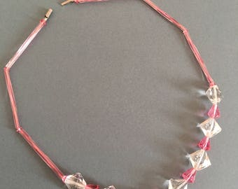 Art Deco Necklace with Crystal Glass Facet Beads Pink White