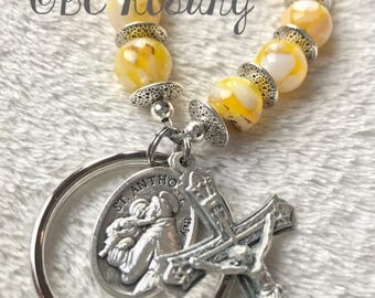 St. Anthony/St. Christopher Yellow Marble Keychain