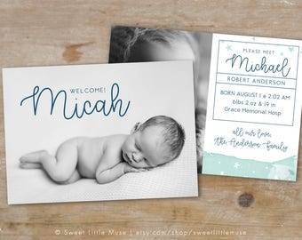 Hand Painted Boy Birth Announcement Template - 5x7 birth announcement template - newborn photography template  INSTANT DOWNLOAD