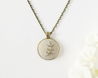 Fern Pendant, Charm Necklace, Nature Jewelry, Embroidered Necklace, Bridesmaid Gift, Gift for Her