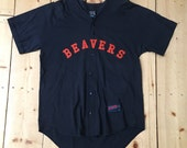 Vintage 90s Beavers Button Up Baseball Jersey by Soffe - Made in USA - XL