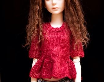 BJD MSD, slim MSD, Minifee red pullover, sweater, peplum, handknit from alpaca and silk.