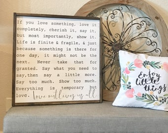 love outlives us all | large wood sign | home decor | farmhouse decor | fixer upper style | mantle sign |
