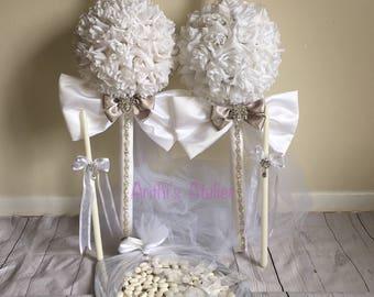 Greek Wedding Candles / Lambades / Lambathes / wedding candle set