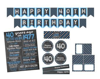 40th Birthday Decorations-Printable Items