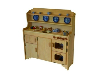 Waldorf Wooden Toy Kitchen- Play Kitchen-Play Stove- toy stove- Toy Kitchen-Child's toy kitchen-Montessori Kitchen-Play Kitchen