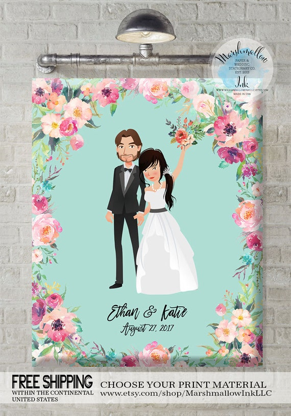 Personalised Wedding Gift Portrait : Personalized Wedding Gift Wedding Portrait Illustration Guest Book ...