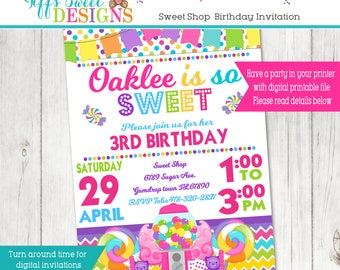 Sweet Shop Candy Party Invitation - Bubble Gum Machine Invite - Sweet Shop - Printable