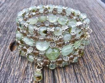 Pretty in Prehnite Multi Coil Memory Wire Gemstone Wrap Bracelet