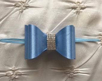 Sky Blue Newborn Bow, Bow Headband, Infant Headband, Baby Girl Hair Accessories, Baby Girl Bow, Infant Bow, Blue Bow