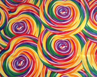 Rainbow coloured, candy, 100 percent quilting cotton, Granny's sweet shop, Red Hen Fabrics