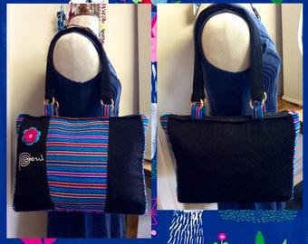 Artisan Made Shoulder Bag,Multicolored stripes Ladies Bag,Black turquoise Peruvian bag,Embroidery Peru Crochet Flower,Medium size bag