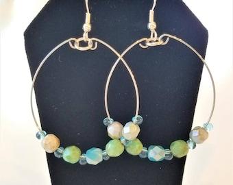 Blue and Green Hoop earrings