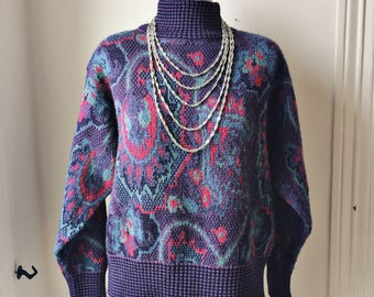 Vintage 90s Sweater Knit Hipster Jumper Abstract Pattern Pullover Jantzen Made In Canada Wool Acrylic Purple
