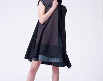 Knee Length Cape Vest W/ Front Hook and Eye and Dark Toned Hem Made From Repurposed Mens Pant Suiting