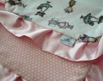 Tutu Cute Ballerina Minky LOVIE blanket with Blush and White Polka Dot Minky Back, Pink Satin, Woodlands, Monkey, Bunny, Elephant - Bedding