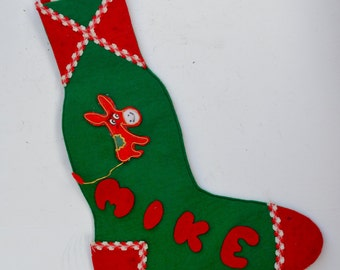 Vintage Christmas Felt Stocking with Donkey for a Mike
