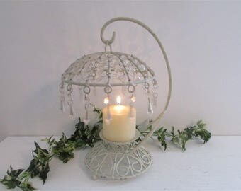 Crystal & Wire Candle Light, Unique Lighting, Shabby Chic Decor, Romantic Candle Light, Romantic Cottage, Unique Candle Holder, Wide Candle