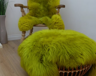 Bright Green Sheepskin Rug - Amazing Softnes Best Quality | Cheap - Real - Large | Free UK Delivery