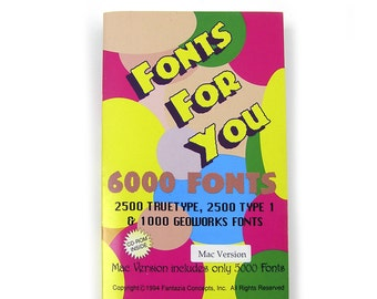 Vintage 1994 Fonts CD and Book Mac Version 5000 Fonts Truetype and Type1 Designer Fonts Creative Fonts Wacky Fonts