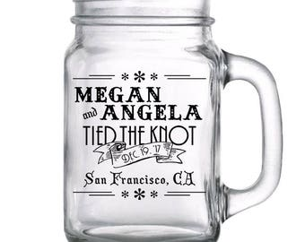"96 Custom ""Destination""  Wedding Mason Jars"