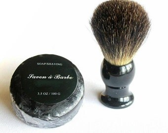 Shaving set with shaving brush and black soap,vegan