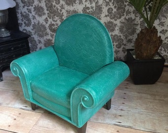 Upcycled Doll Furniture  - Teal Chair -  for Diorama / Display