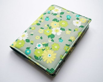 A6 Notebook Cover, Fabric Book Cover, Diary Cover, Planner Cover, Removable Book Cover, Green Floral Cotton, Free UK Shipping, UK Seller
