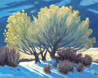 Snow 'Winter Chamisa' - original landscape painting - oil -  chamisa - plants - turquoise - 5x7 - free shipping