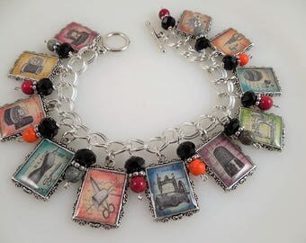 Sewing Seamstress  Altered Art Charm Bracelet