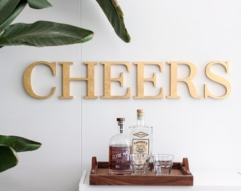 "36"" Gold Leaf CHEERS Sign: serif font home decor sign (hanging guide included)"