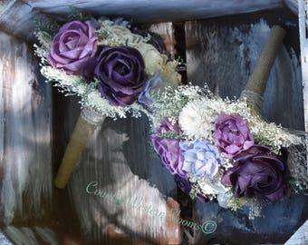Small Wedding Bouquet Rustic Bouquet Plum Bouquet Sola Bouquet Rustic Bouquet Fall Bouquet Plum Lavender Bouquet Purple Sola Bridesmaid